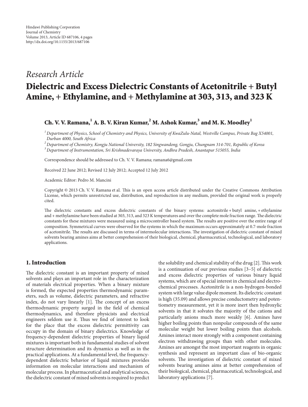 Dielectric and Excess Dielectric Constants of Acetonitrile +