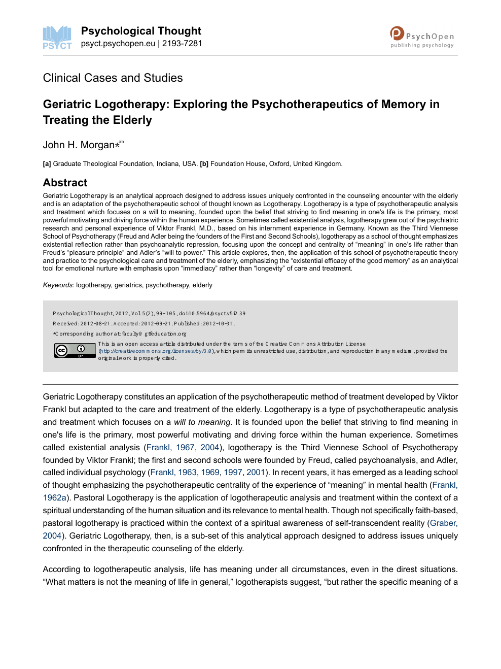 Geriatric Logotherapy: Exploring the Psychotherapeutics of