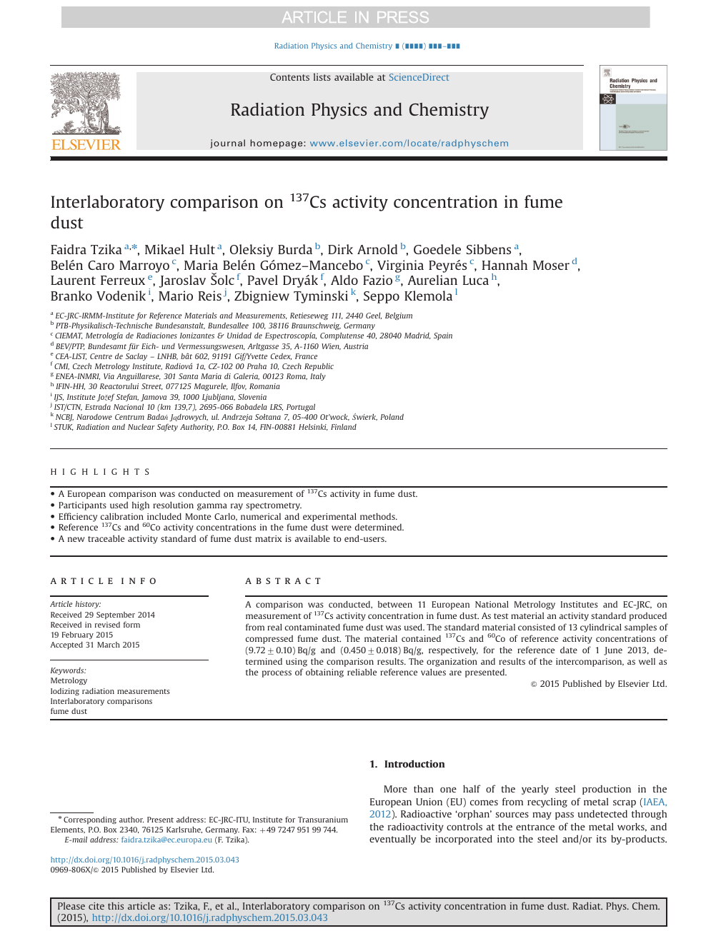 Interlaboratory comparison on 137Cs activity concentration in fume