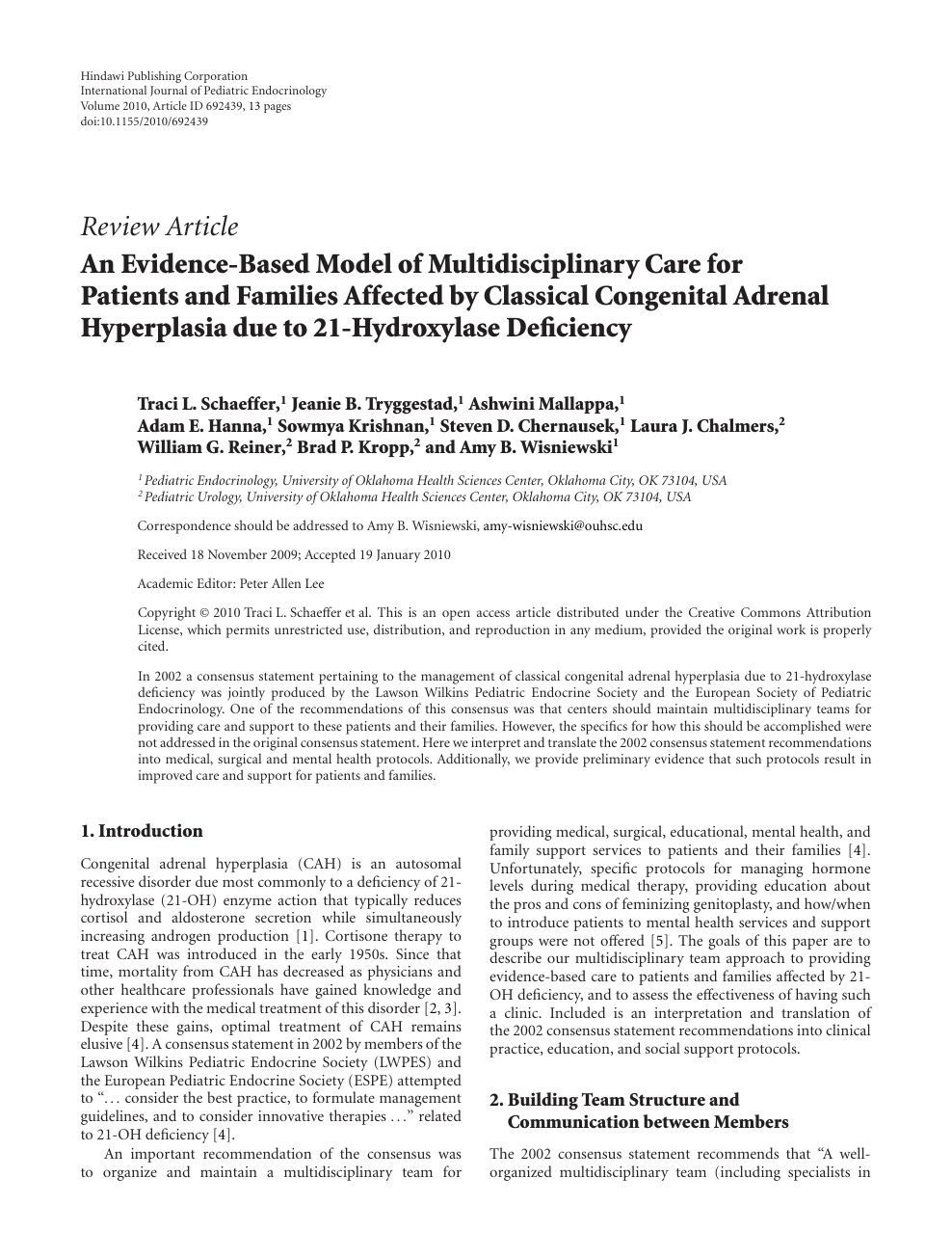 An Evidence-Based Model of Multidisciplinary Care for ...