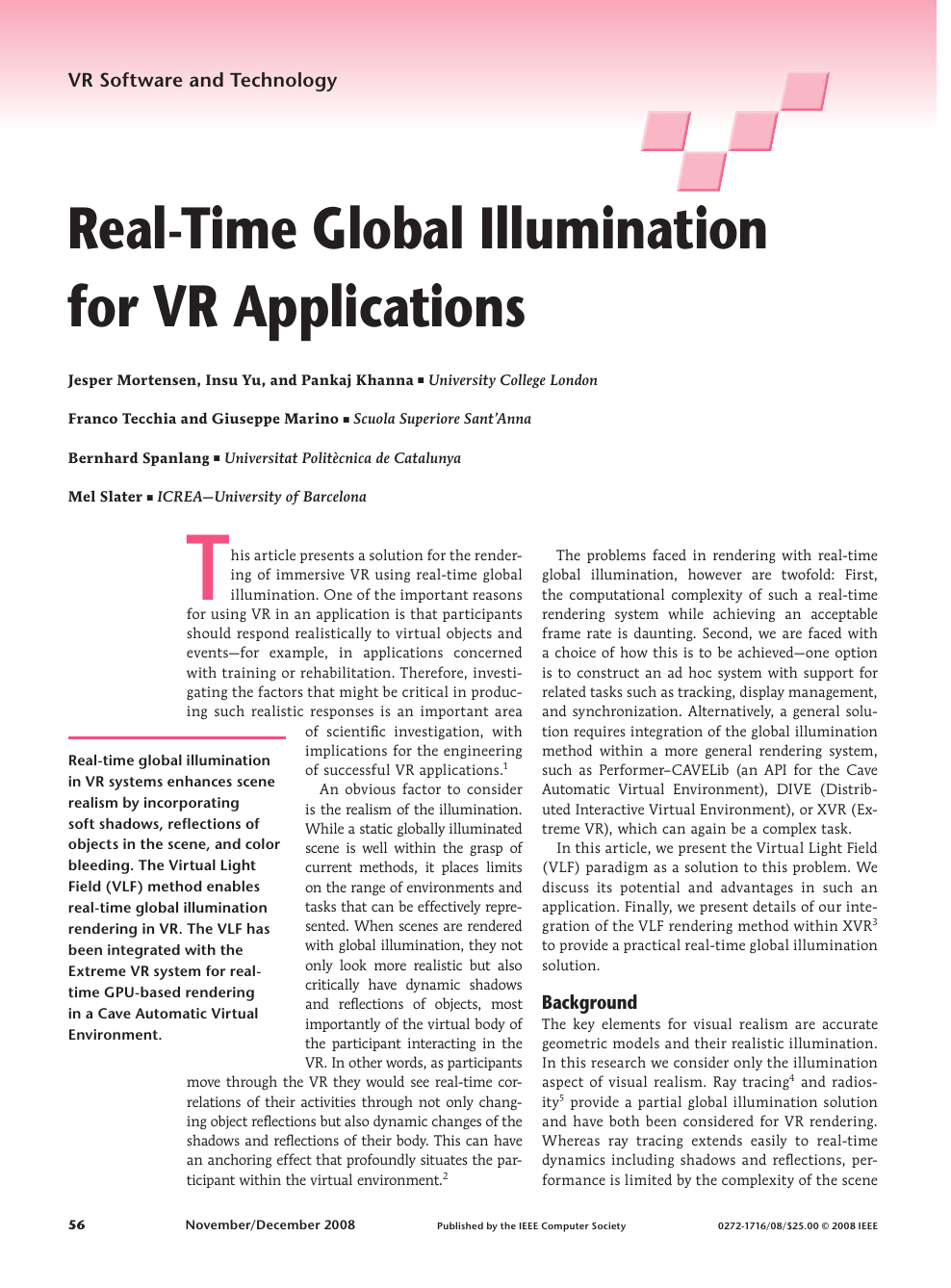 Real-Time Global Illumination for VR Applications – topic of