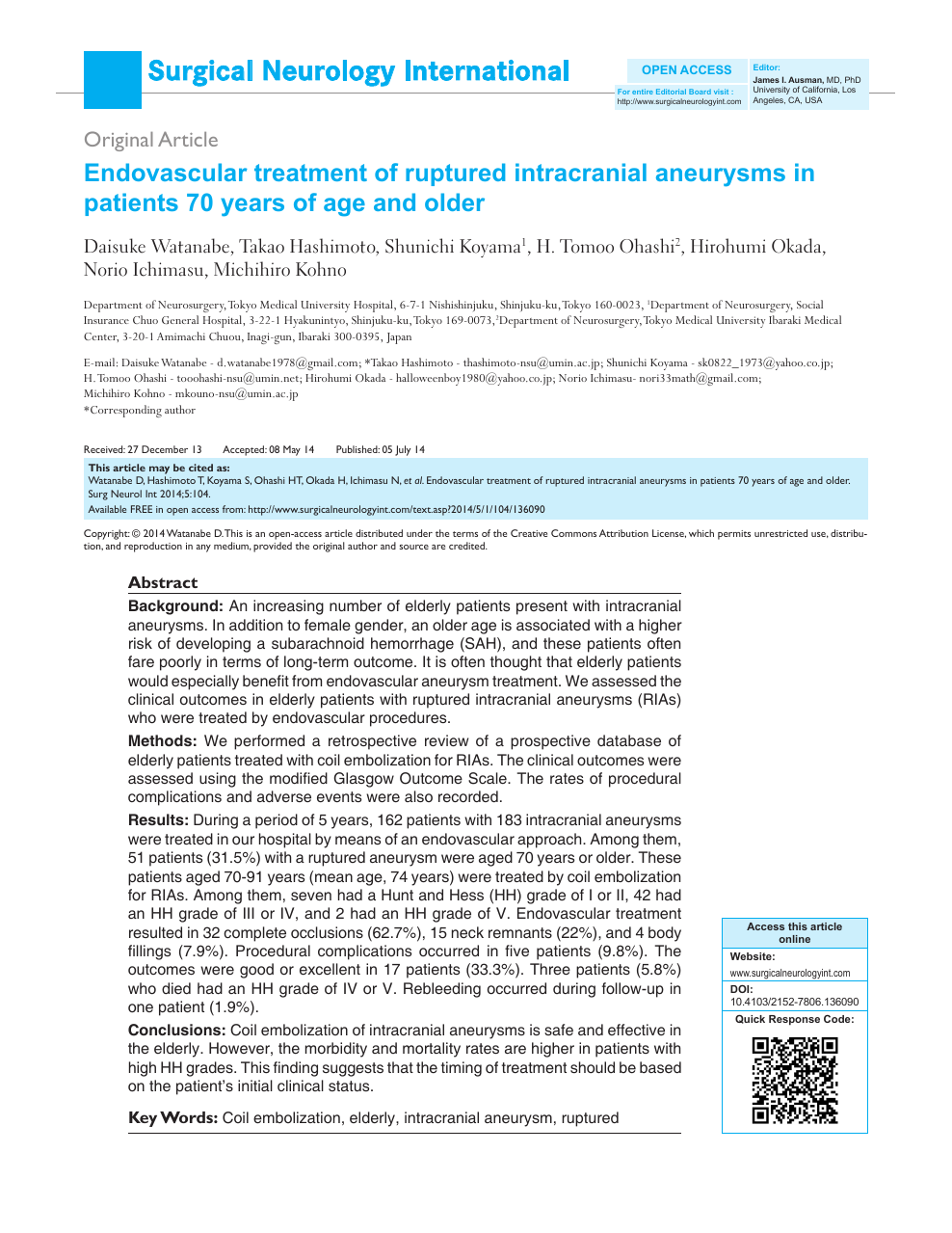 Endovascular treatment of ruptured intracranial aneurysms in