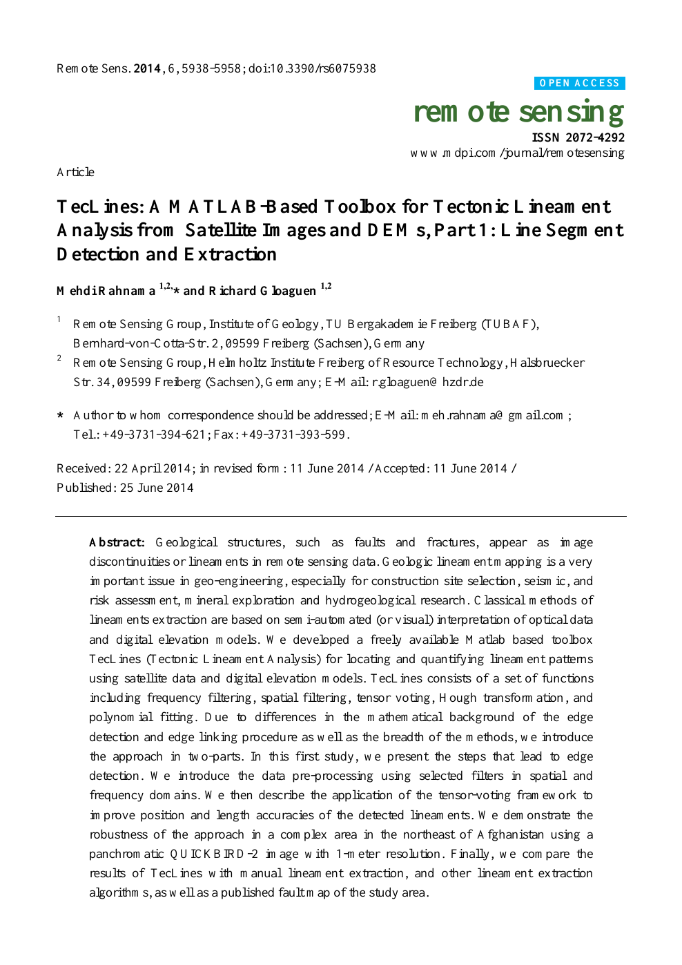 TecLines: A MATLAB-Based Toolbox for Tectonic Lineament