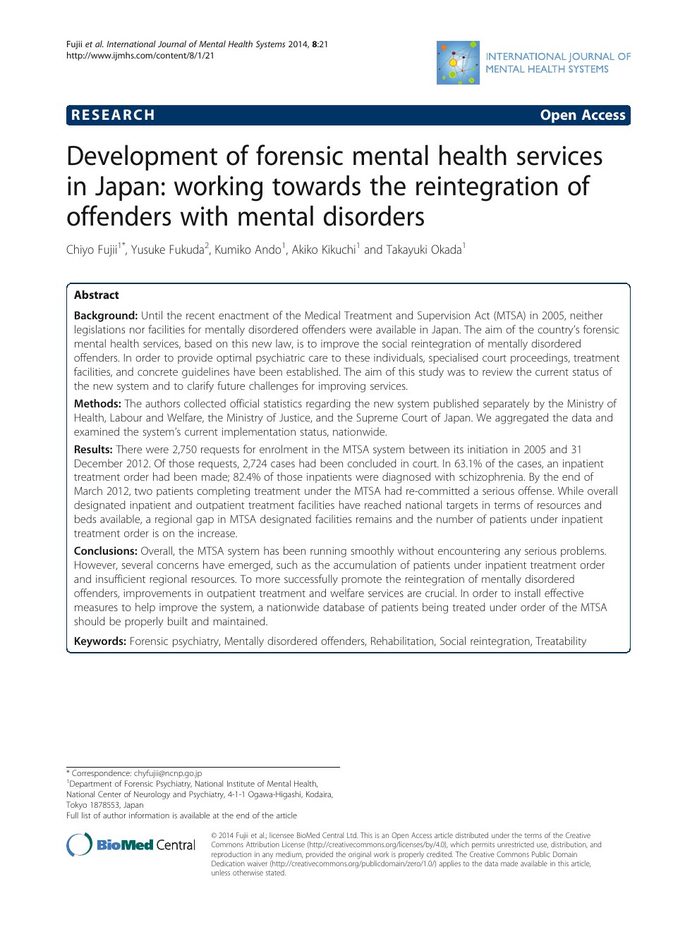Development Of Forensic Mental Health Services In Japan Working Towards The Reintegration Of Offenders With Mental Disorders Topic Of Research Paper In Clinical Medicine Download Scholarly Article Pdf And Read For