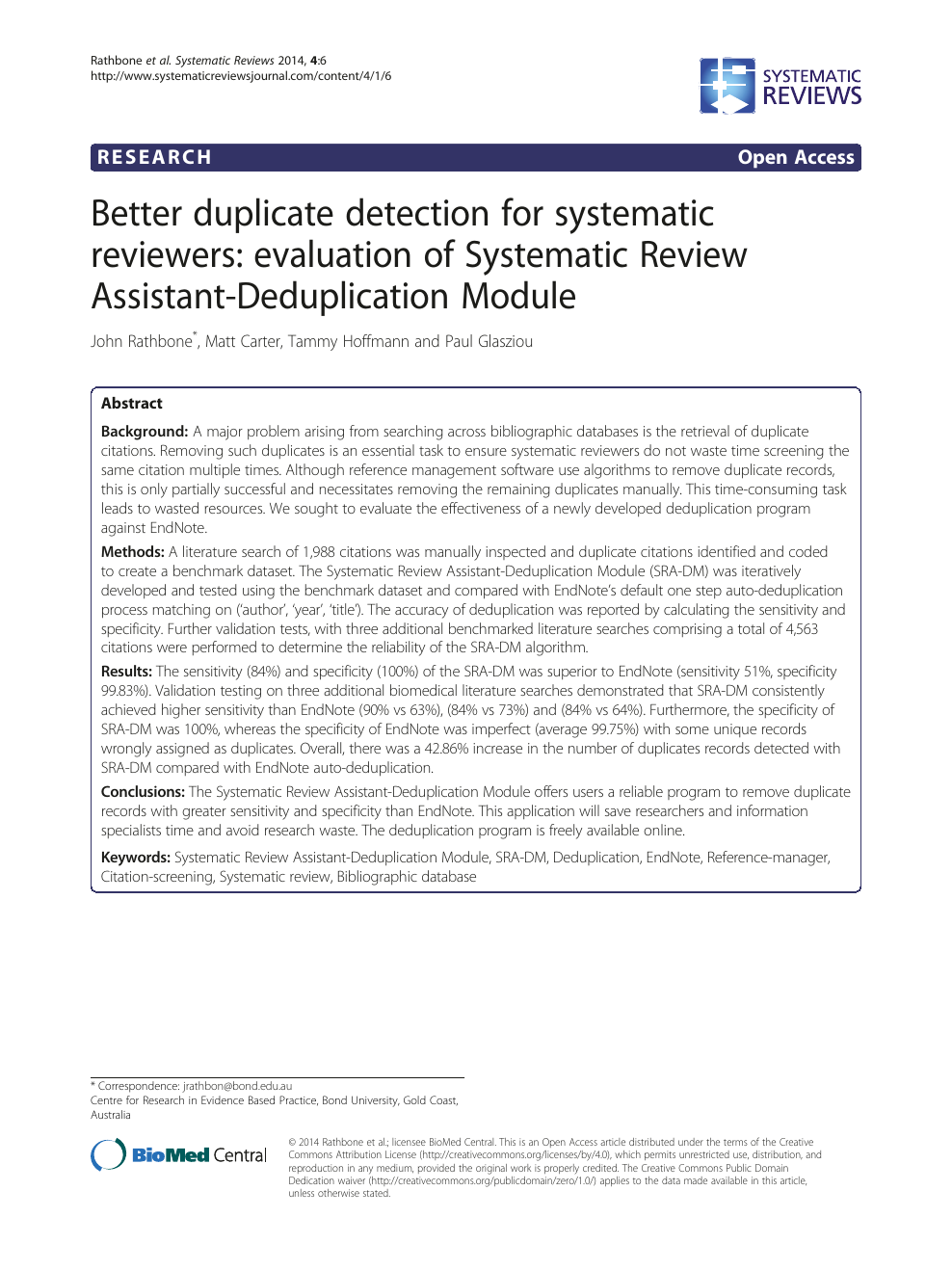 Better duplicate detection for systematic reviewers