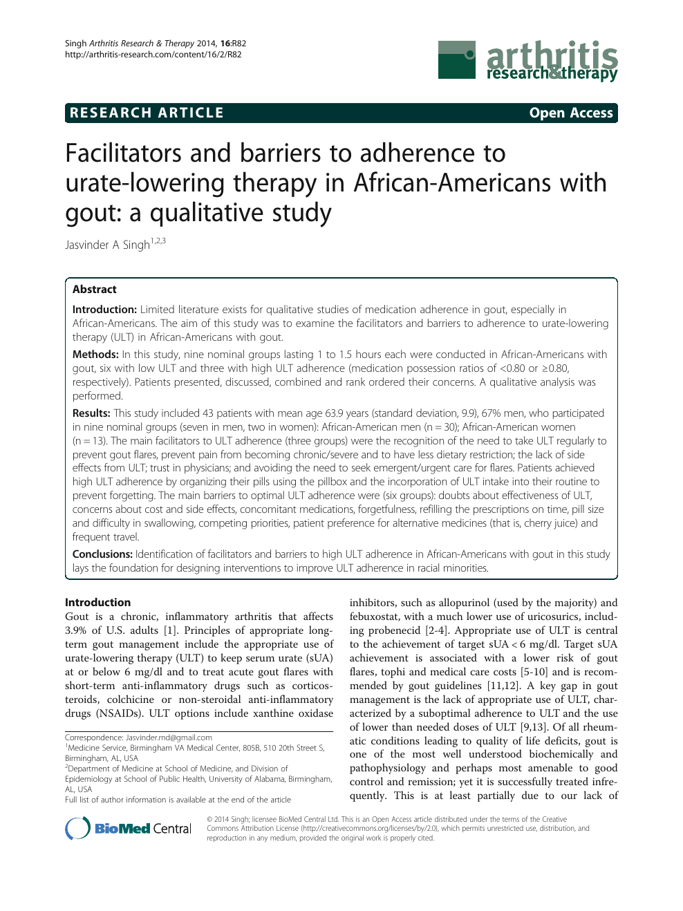Facilitators and barriers to adherence to urate-lowering
