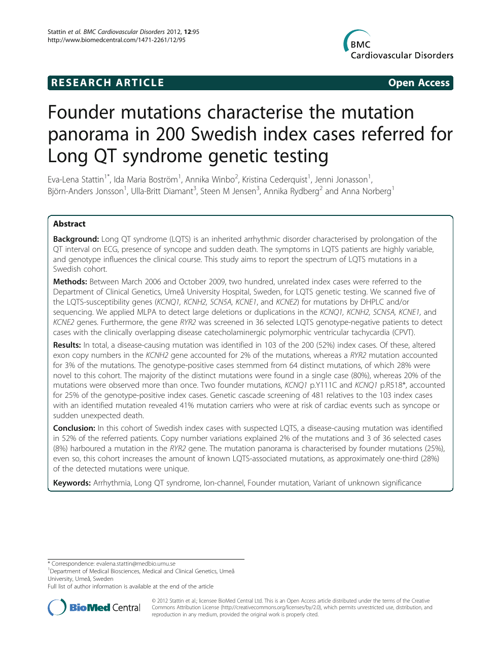 Founder mutations characterise the mutation panorama in 200
