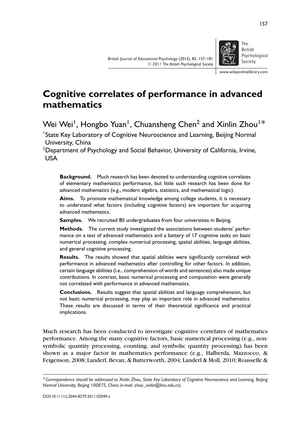 Cognitive correlates of performance in advanced mathematics