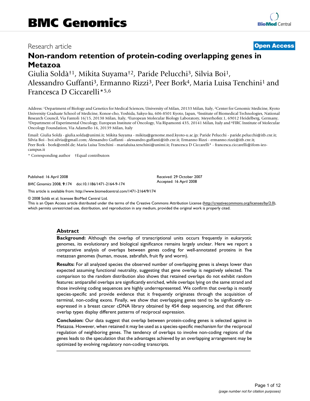 Non-random retention of protein-coding overlapping genes in Metazoa