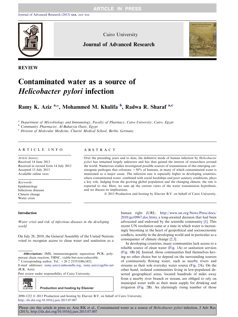 Contaminated water as a source of Helicobacter pylori