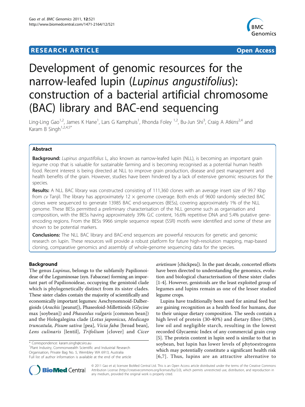 Development of genomic resources for the narrow-leafed lupin