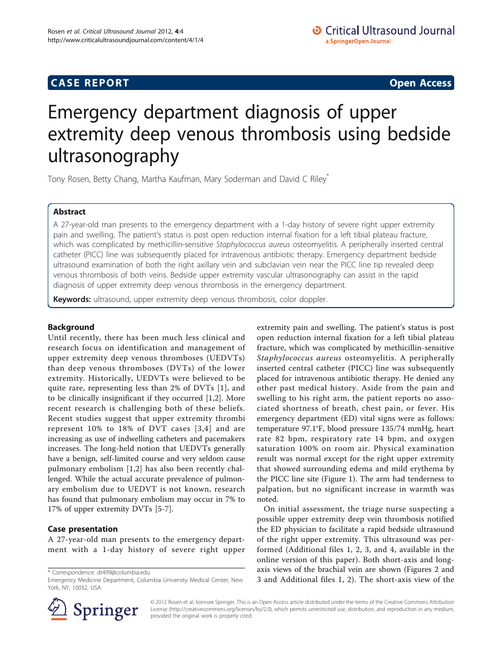 Emergency department diagnosis of upper extremity deep venous