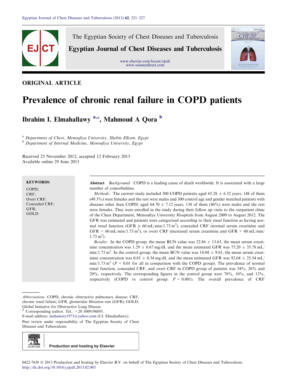 Prevalence of chronic renal failure in COPD patients – topic