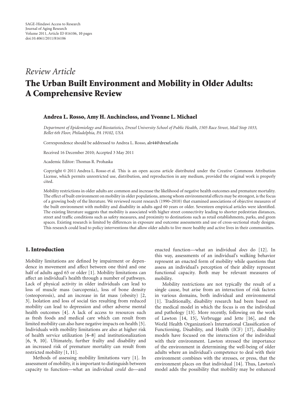 The Urban Built Environment and Mobility in Older Adults: A