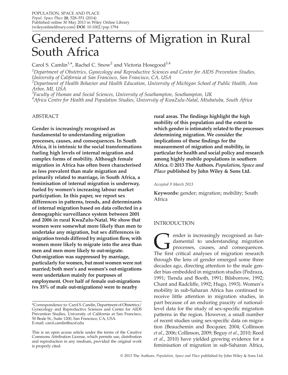 Gendered Patterns of Migration in Rural South Africa – topic of