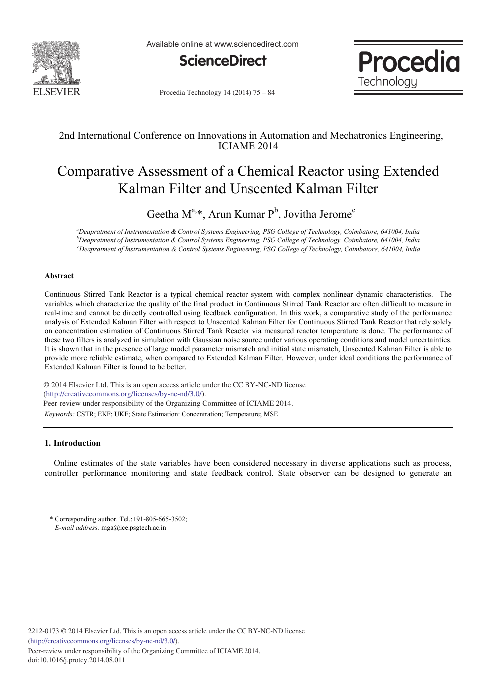Comparative Assessment of a Chemical Reactor Using Extended