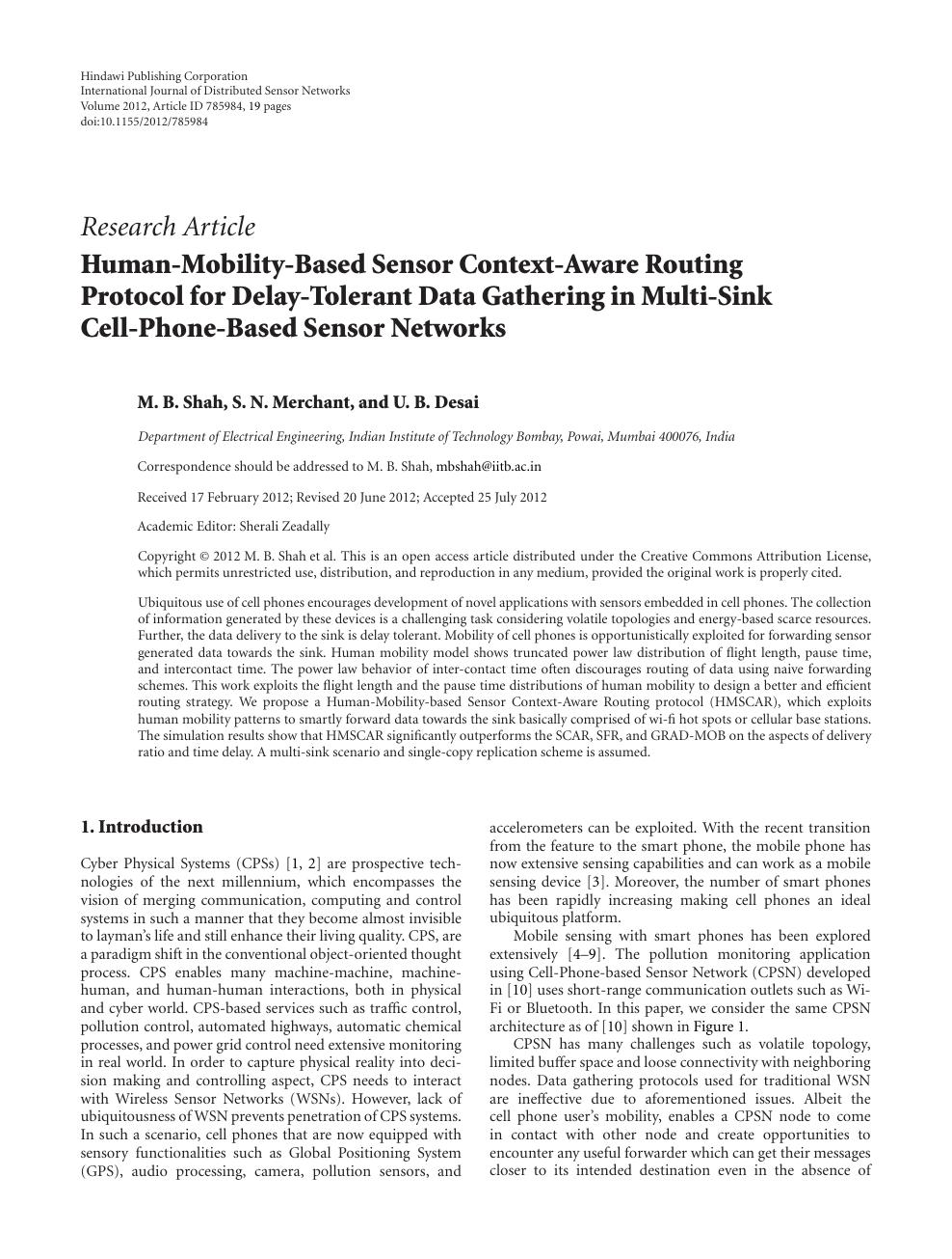 Human-Mobility-Based Sensor Context-Aware Routing Protocol