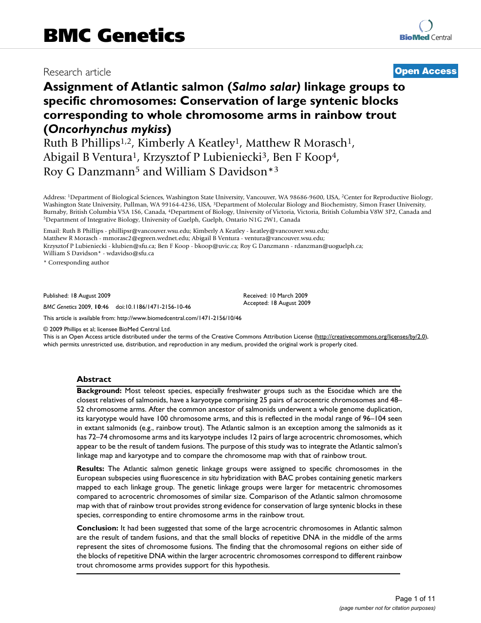 Assignment of Atlantic salmon (Salmo salar) linkage groups