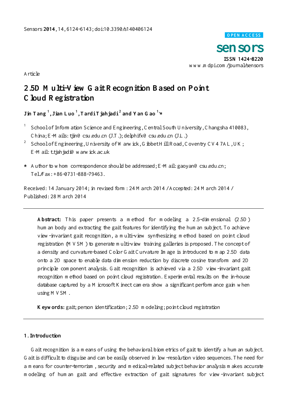 2 5D Multi-View Gait Recognition Based on Point Cloud