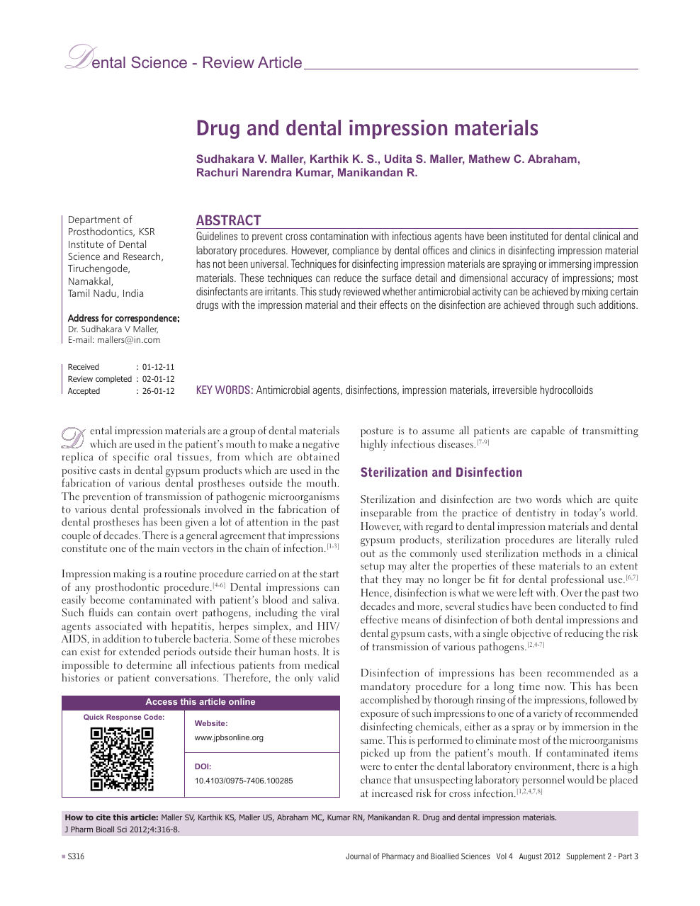 Drug and dental impression materials – topic of research paper in