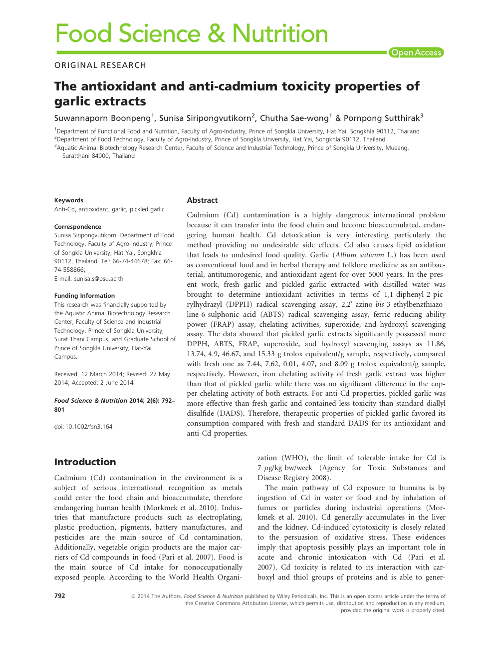 The antioxidant and anti-cadmium toxicity properties of