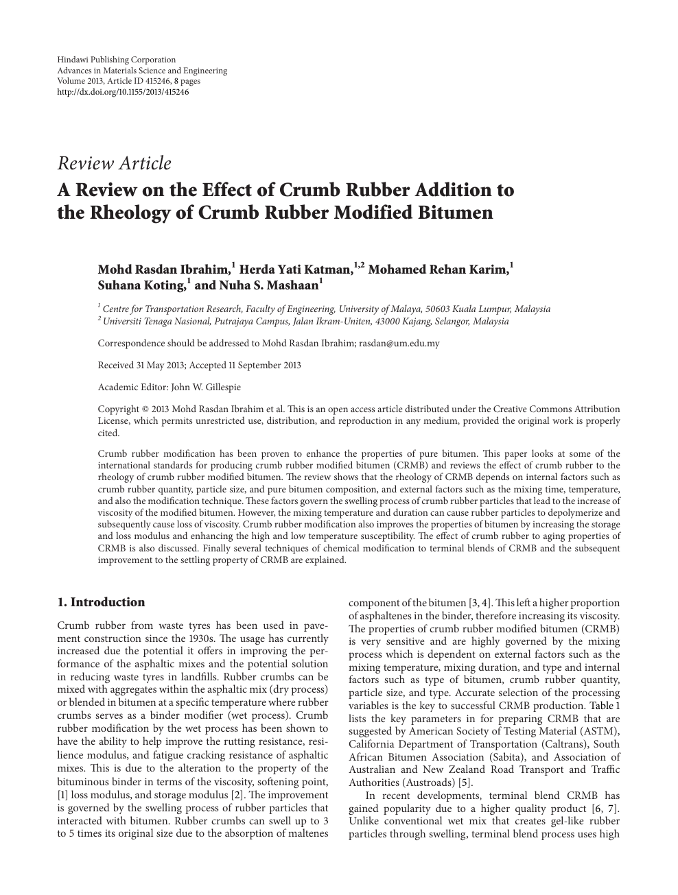 A Review on the Effect of Crumb Rubber Addition to the Rheology of