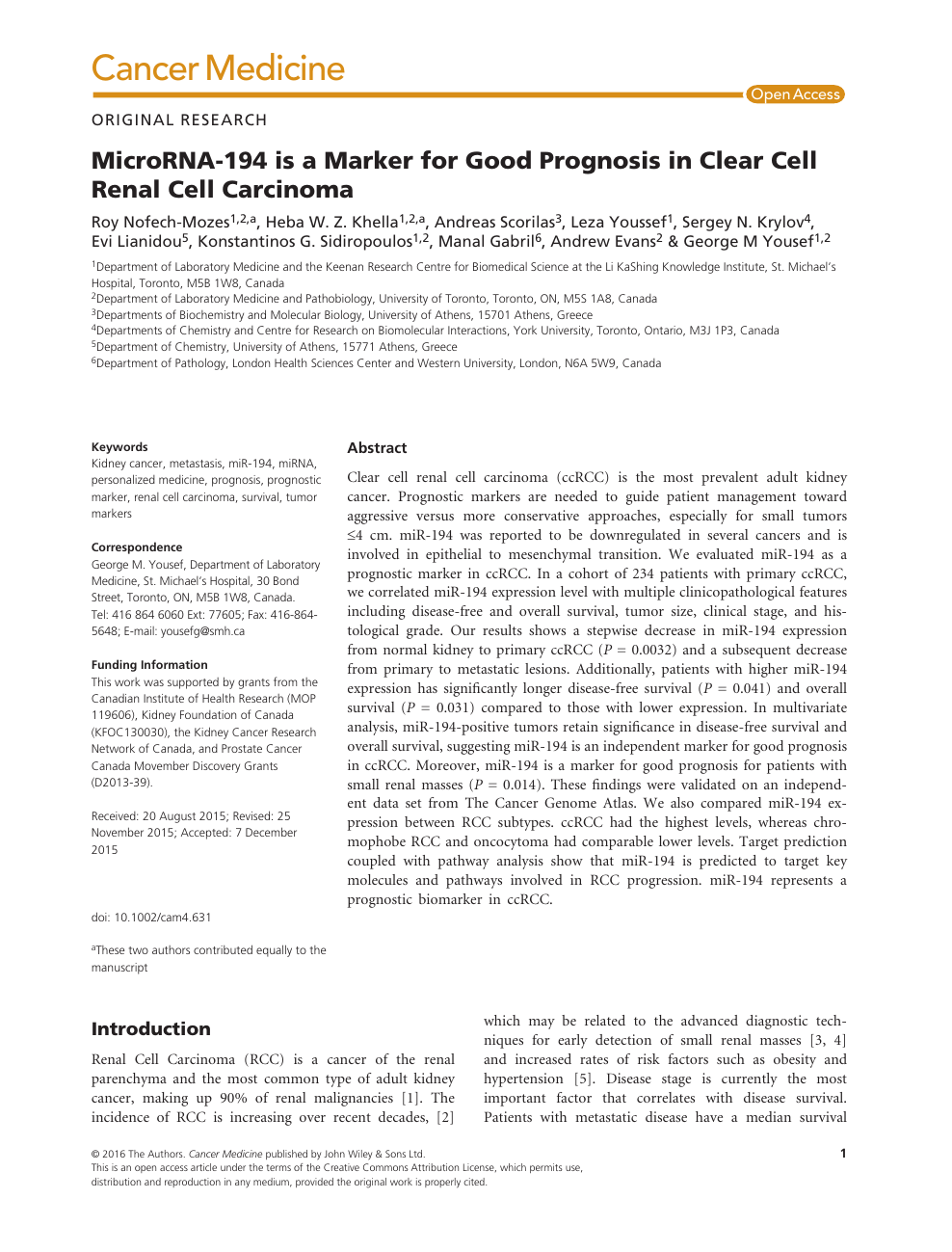 Microrna 194 Is A Marker For Good Prognosis In Clear Cell Renal Cell Carcinoma Topic Of Research Paper In Clinical Medicine Download Scholarly Article Pdf And Read For Free On Cyberleninka Open