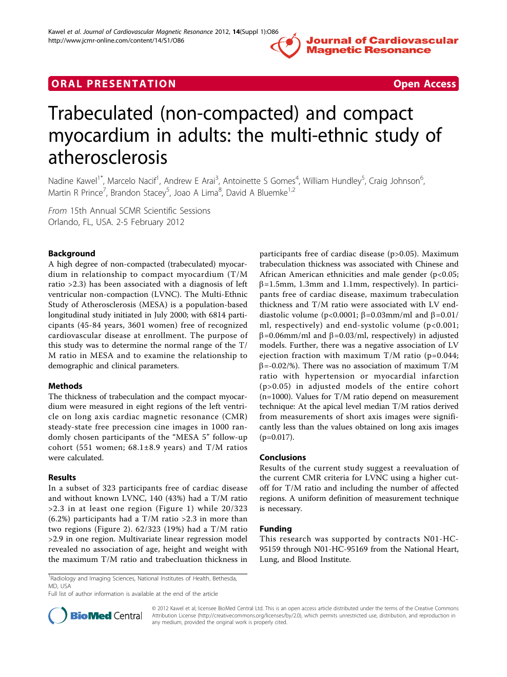 Trabeculated (non-compacted) and compact myocardium in