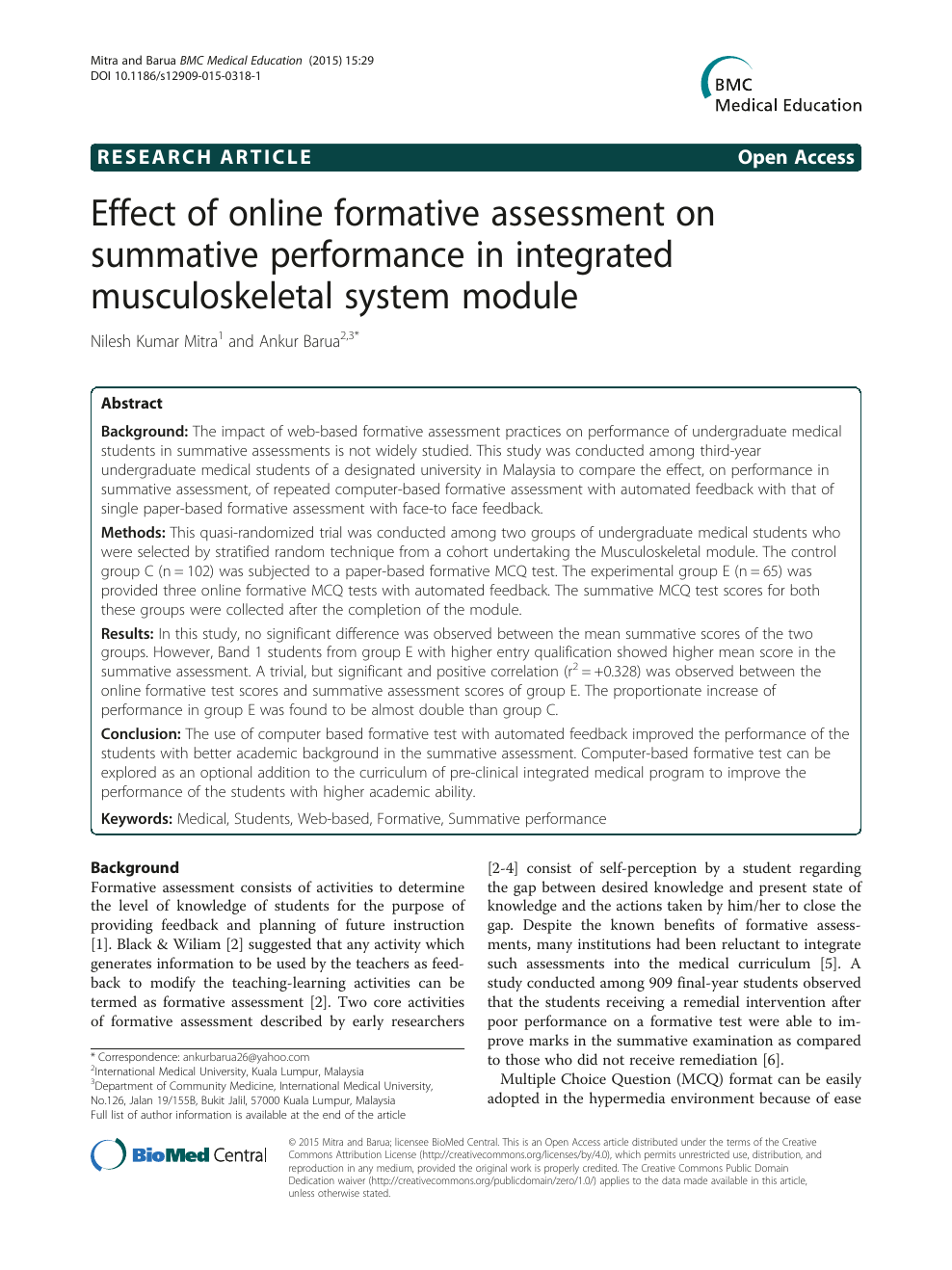 Effect of online formative assessment on summative