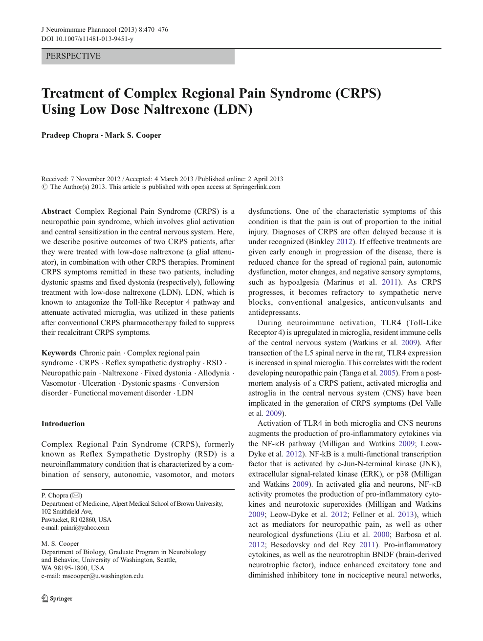 Treatment of Complex Regional Pain Syndrome (CRPS) Using Low