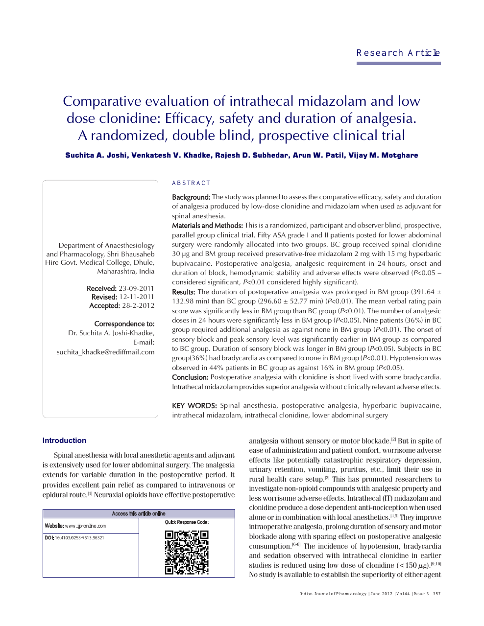 Comparative evaluation of intrathecal midazolam and low dose