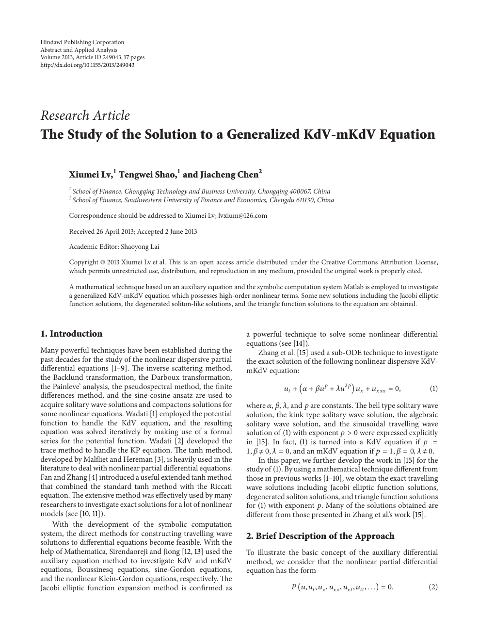 The Study of the Solution to a Generalized KdV-mKdV Equation