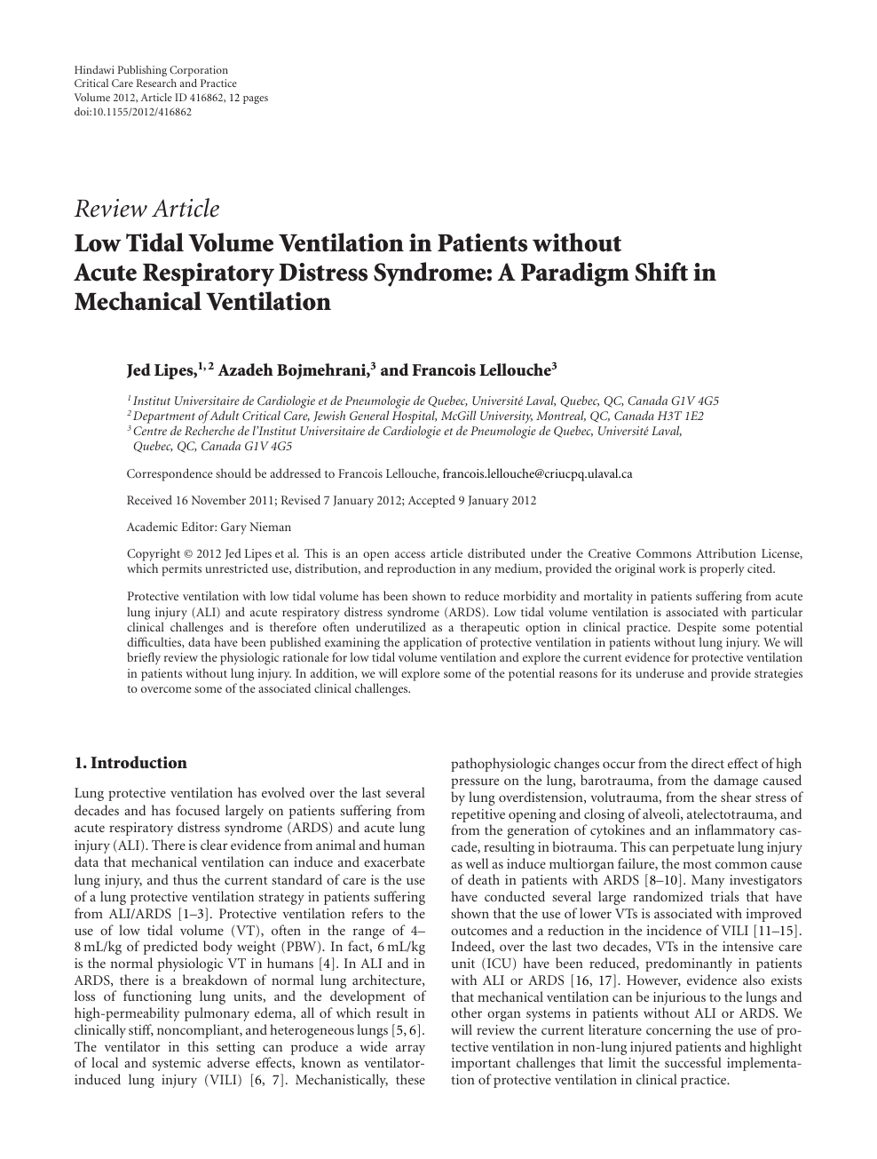 Low Tidal Volume Ventilation in Patients without Acute Respiratory