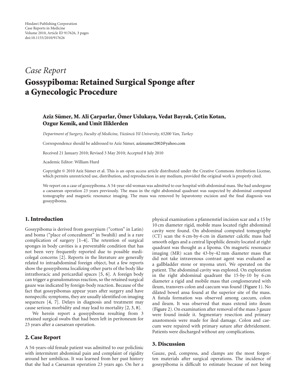 Gossypiboma: Retained Surgical Sponge after a Gynecologic