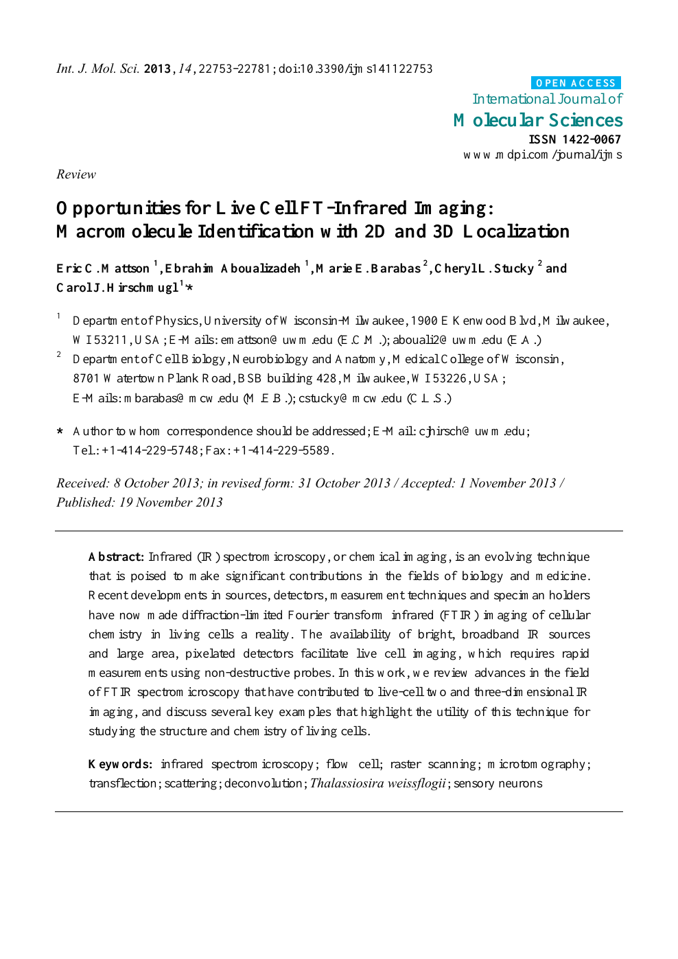 Opportunities for Live Cell FT-Infrared Imaging: Macromolecule