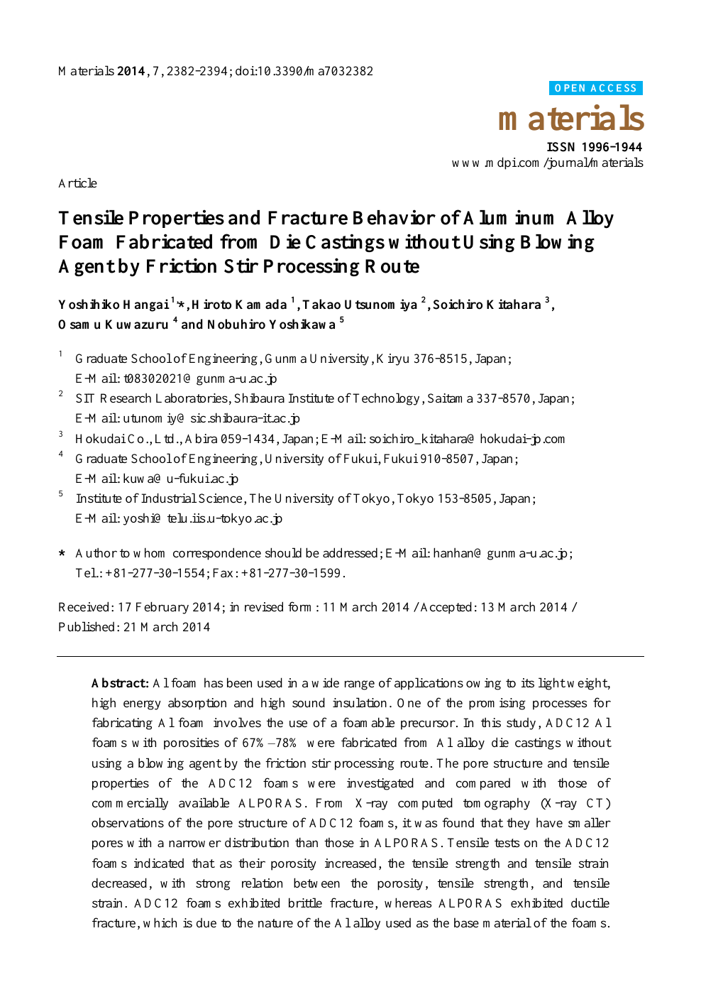 Tensile Properties and Fracture Behavior of Aluminum Alloy