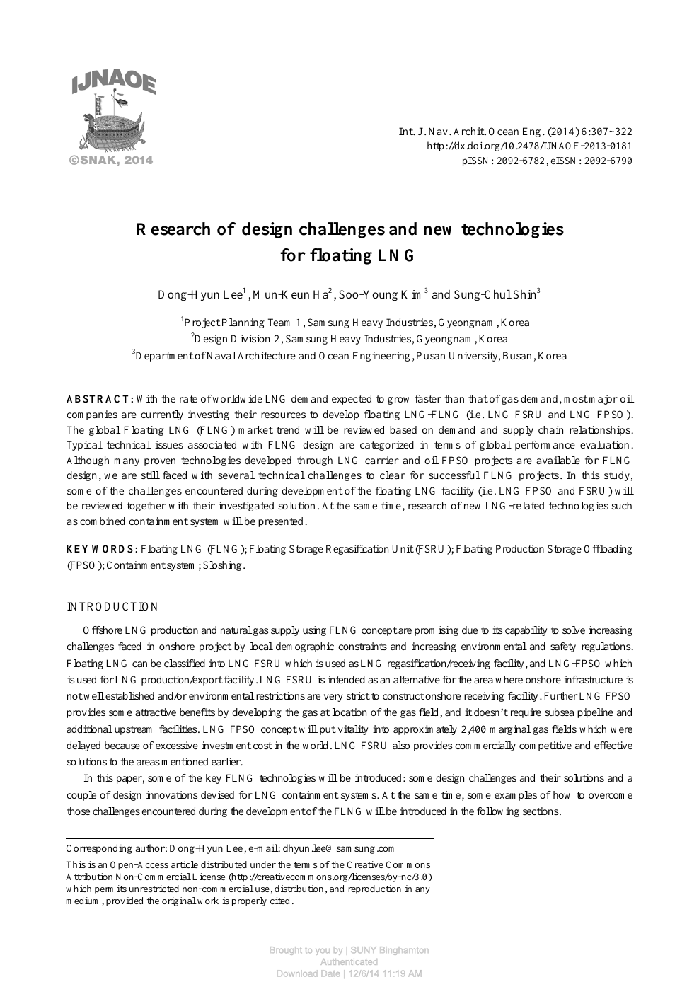 Research of design challenges and new technologies for floating LNG