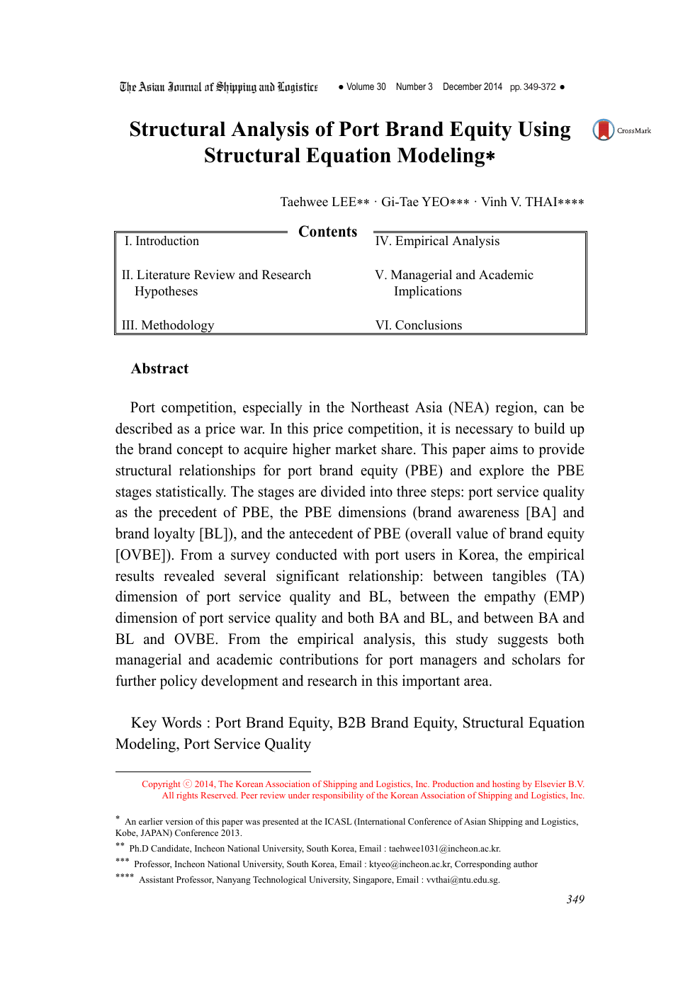Structural Analysis of Port Brand Equity Using Structural