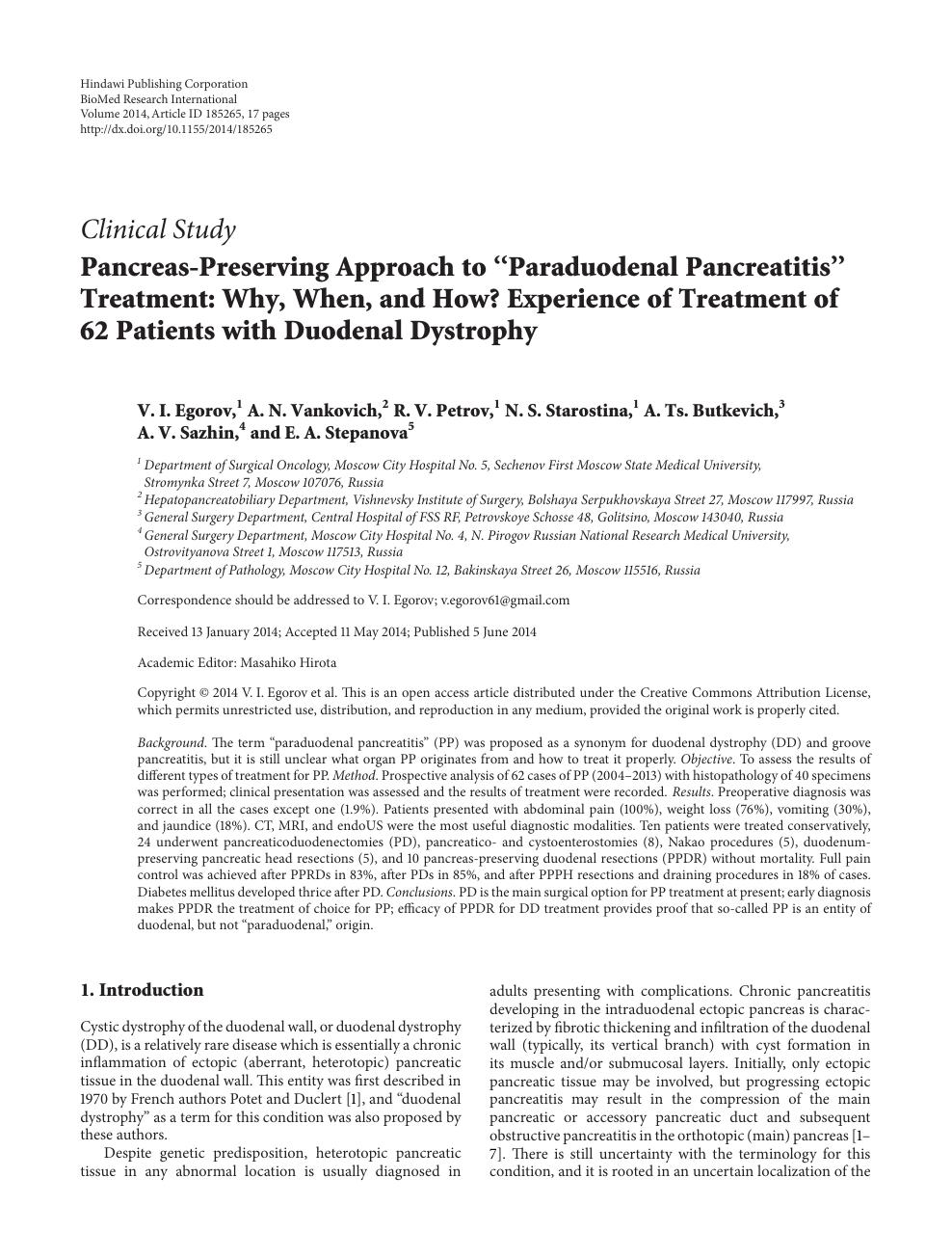 "Pancreas-Preserving Approach to ""Paraduodenal Pancreatitis"