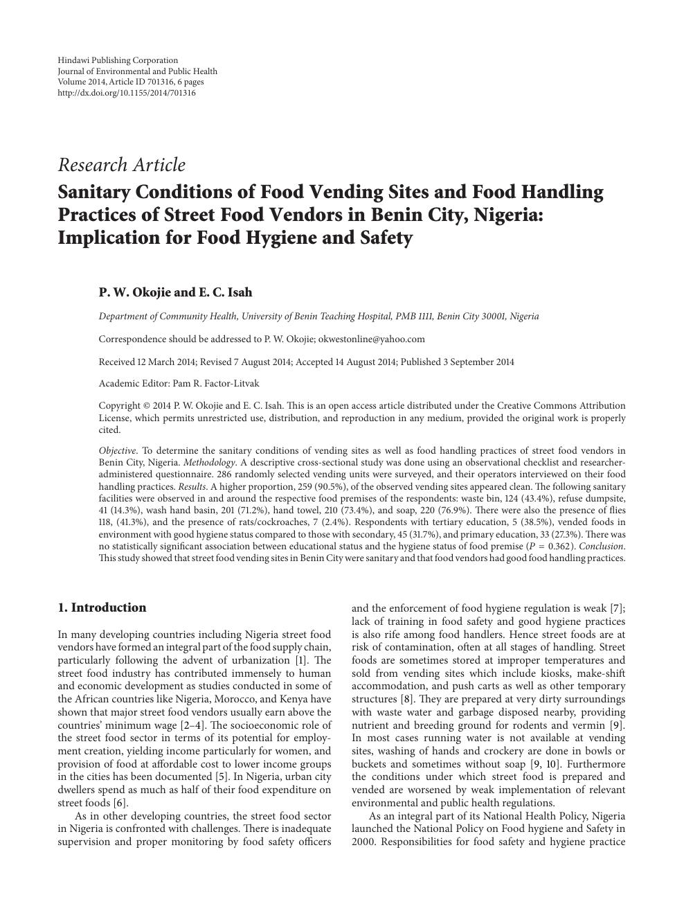 food hygiene practices among food handlers