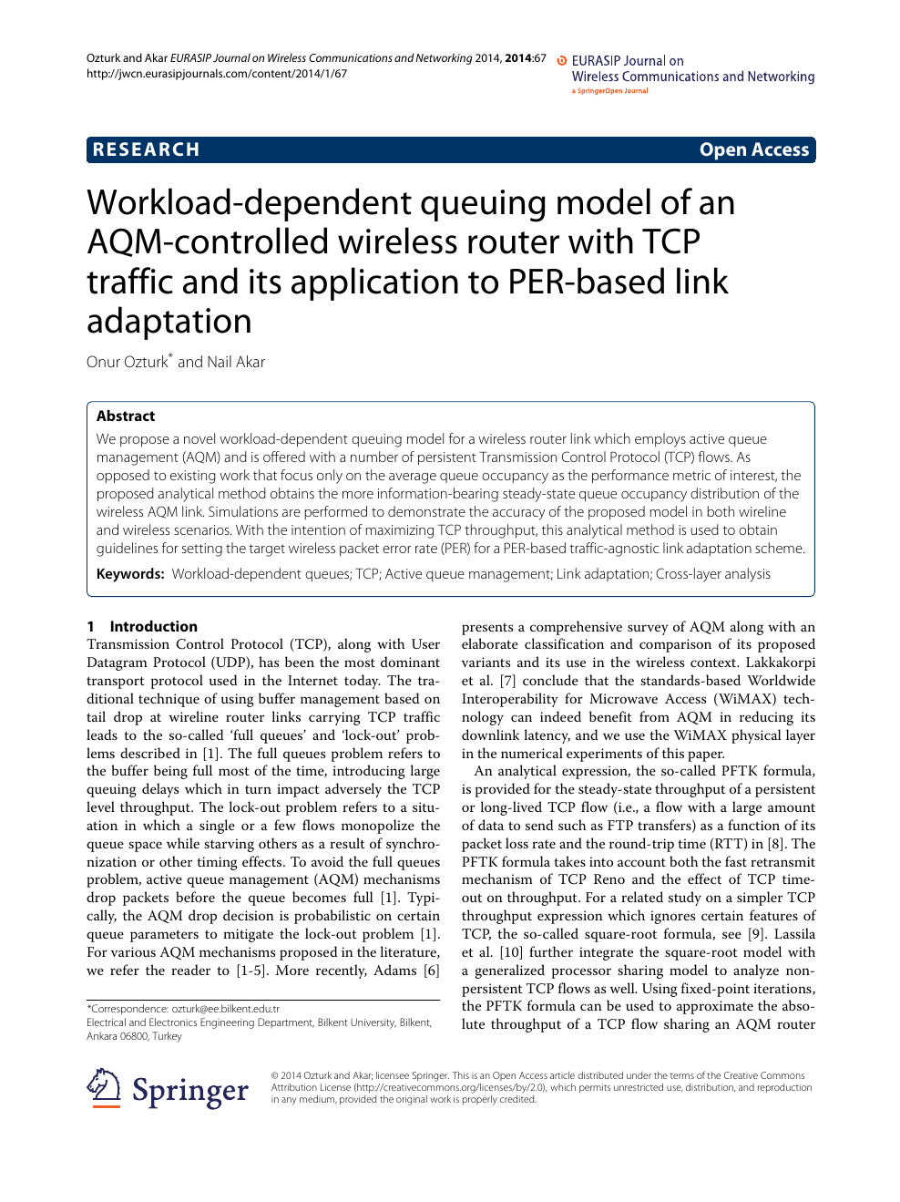 Workload-dependent queuing model of an AQM-controlled
