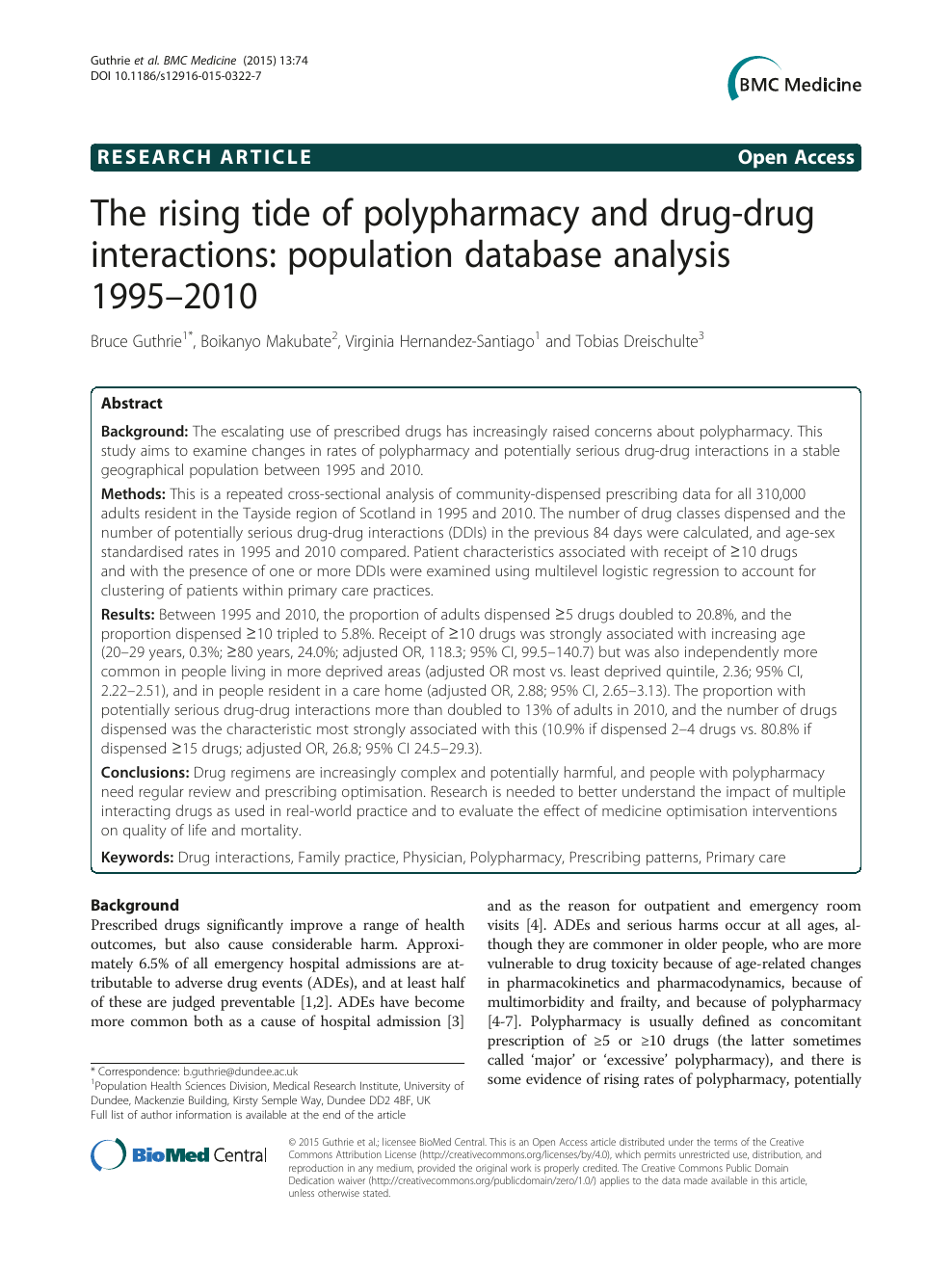The rising tide of polypharmacy and drug-drug interactions