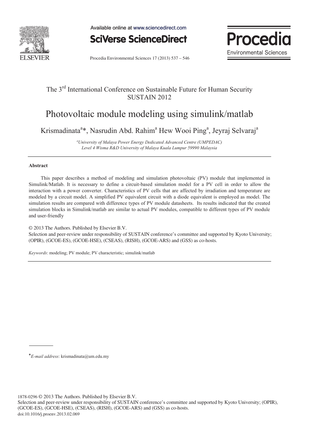 Photovoltaic Module Modeling using Simulink/Matlab – topic of