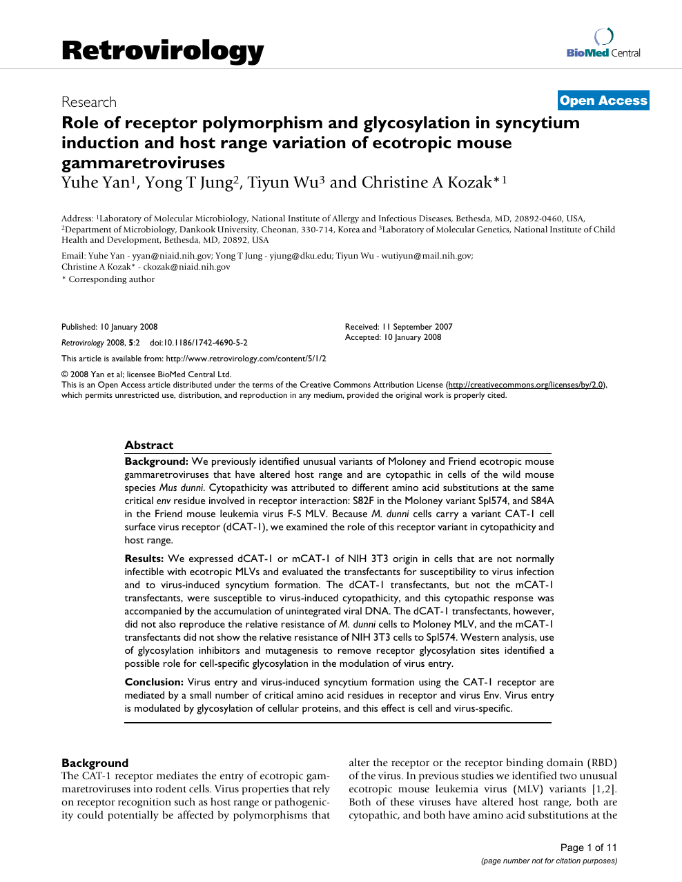 Role of receptor polymorphism and glycosylation in syncytium
