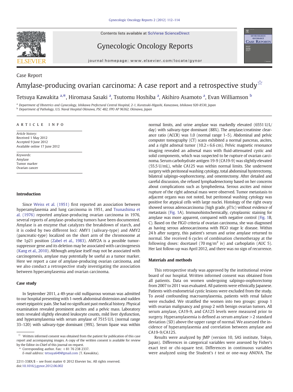 Amylase-producing ovarian carcinoma: A case report and a