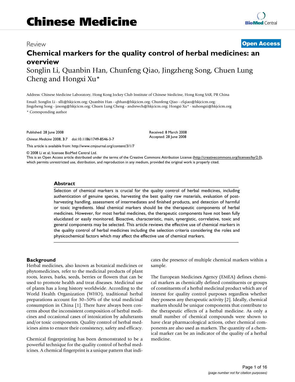 Chemical markers for the quality control of herbal medicines
