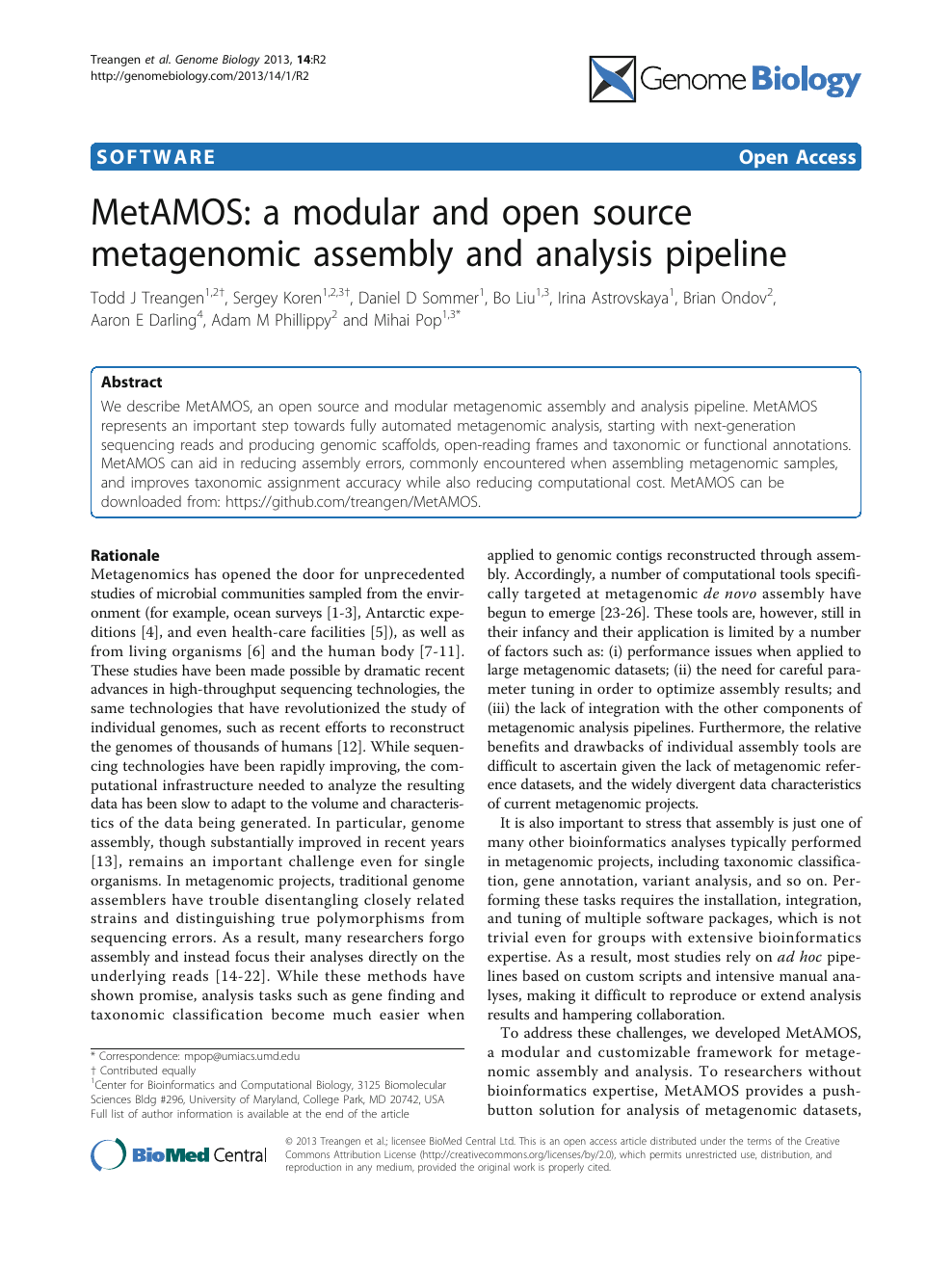 MetAMOS: a modular and open source metagenomic assembly and analysis