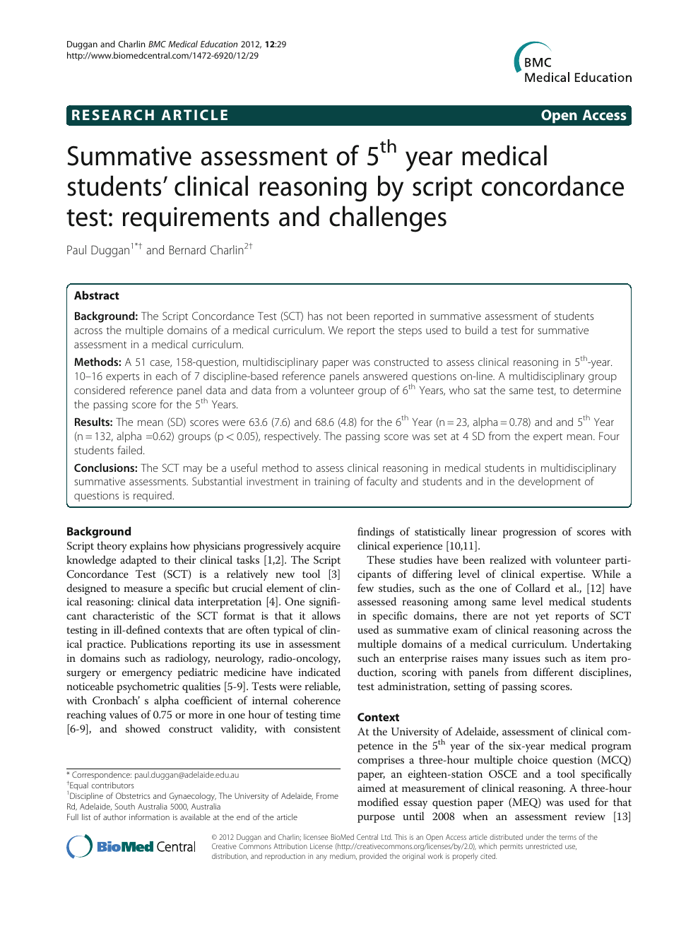 Summative assessment of 5th year medical students' clinical
