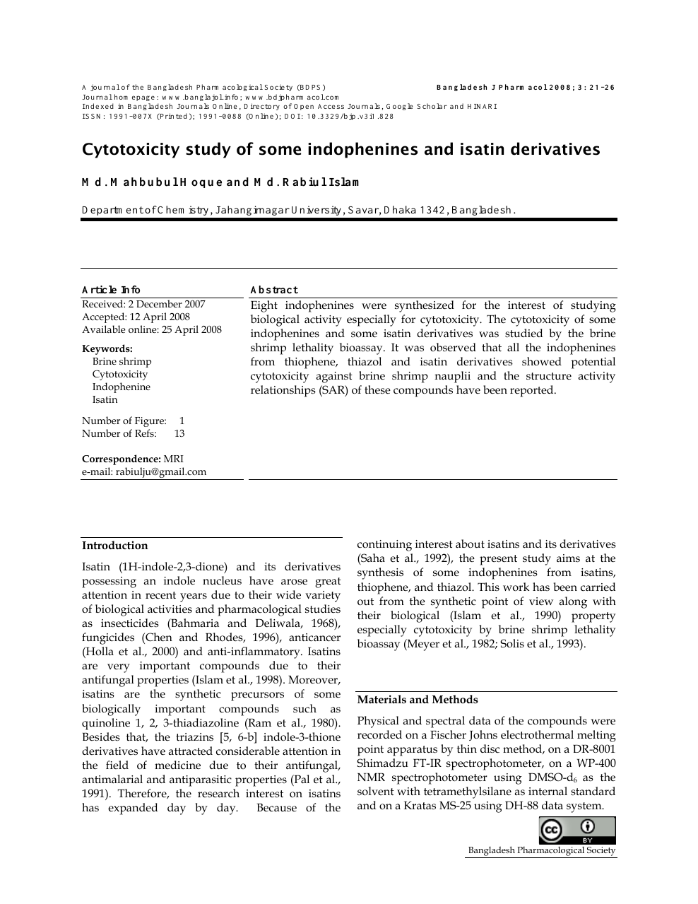 Cytotoxicity Study Of Some Indophenines And Isatin Derivatives
