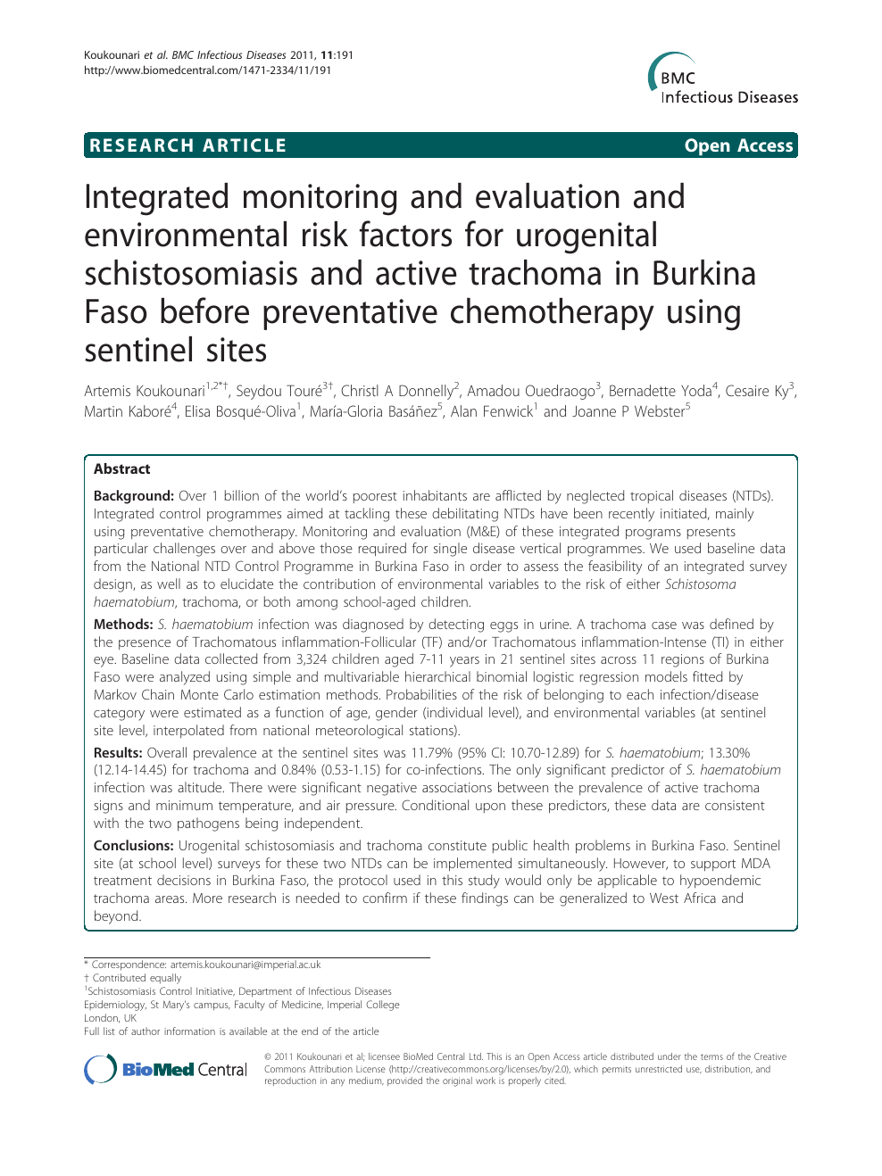 Integrated monitoring and evaluation and environmental risk